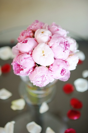 Bridal bouquet of pink peonies photo