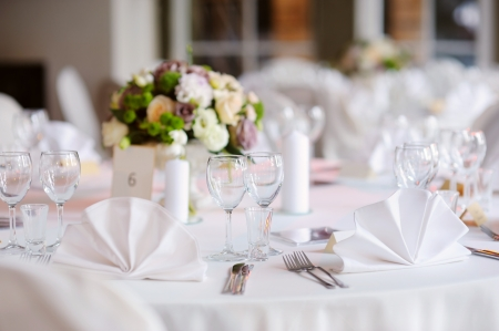 wedding table: Table set for an event party or wedding reception