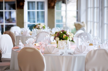 Table set for an event party or wedding reception Stock Photo - 12790671