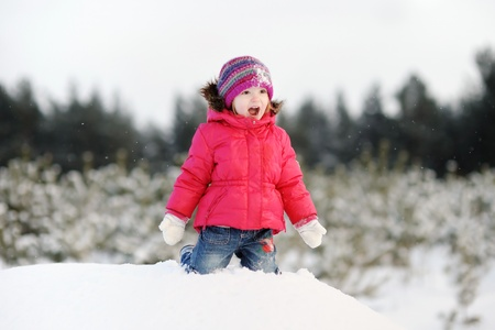 white winter: Little girl having fun at winter day
