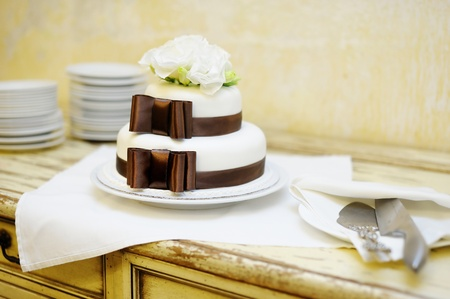 wedding food: Delicious white and brown wedding cake