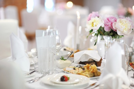 wine and dine: Table set for an event party or wedding reception