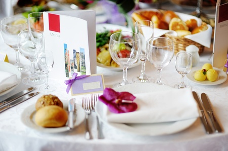 Empty place card on a fancy festive table Stock Photo - 12791777