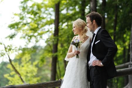 12791869: Portrait of happy bride and groom Stock Photo