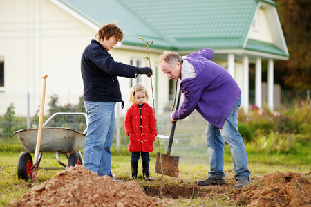 planting a tree: Adorable little girl and her grandparents planting a tree Stock Photo