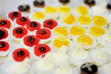 fruit jelly: Assorted colorful fruit jelly cakes Stock Photo