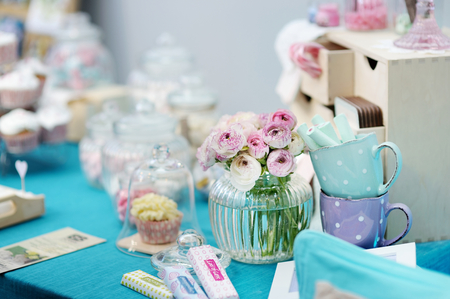 afternoon fancy cake: Fancy blue and pink table set