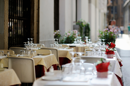 catering service: Table set for an event party or dinner outdoors