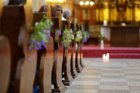 Beautiful wild flowers wedding decoration in a church