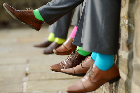 best friends: Funny colorful socks of groomsmen