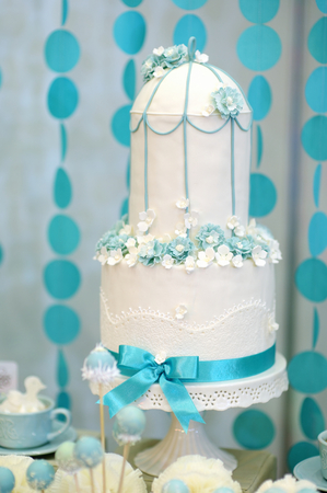 wedding table decor: Two stories wedding cake decorated with blue flowers