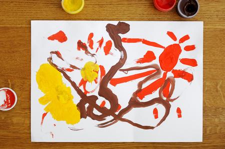 toddler: Toddler girls colorful painting