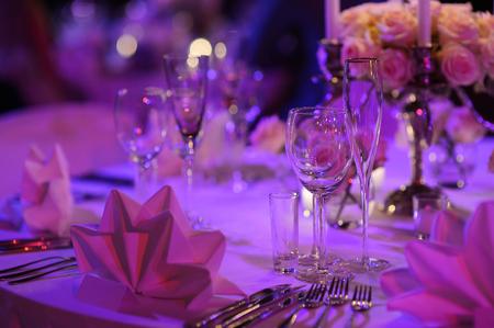 Mesa para una fiesta o evento de recepción de la boda Foto de archivo - 39672654