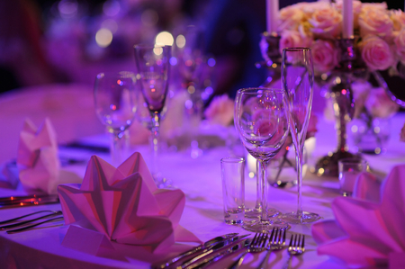 Table set for an event party or wedding reception Stock Photo - 39672654