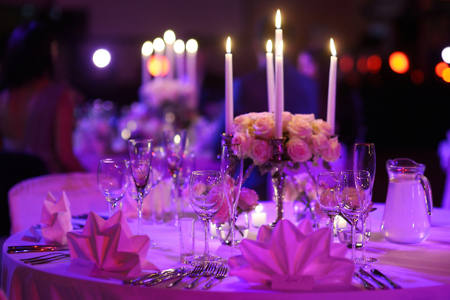 formal dinner party: Table set for an event party or wedding reception