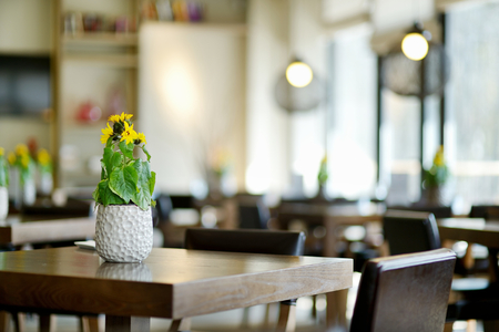 cafe table: Stylish interior of a cozy restaurant