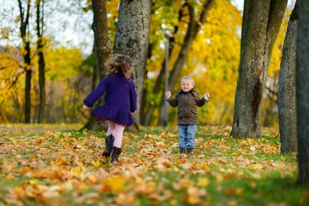 niños jugando: Niños jugando en el hermoso día de otoño Foto de archivo