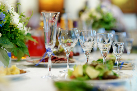 catering service: Table set for an event party or wedding reception