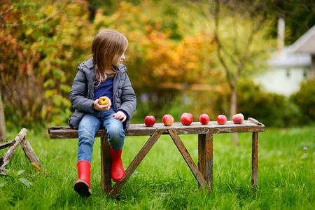 Niña que come una manzana en un banco de madera en día de otoño