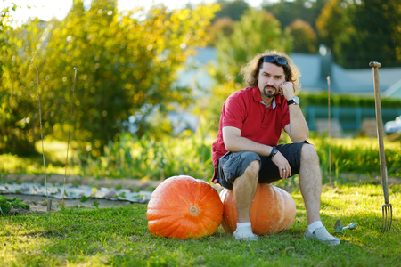 huge: Young man sitting on huge pumpkins on a pumpkin patch Stock Photo