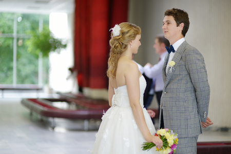 registry: Young couple getting married in a registry office