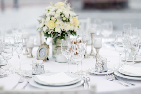 reception desk: Table set for an event party or wedding reception, winter theme Stock Photo