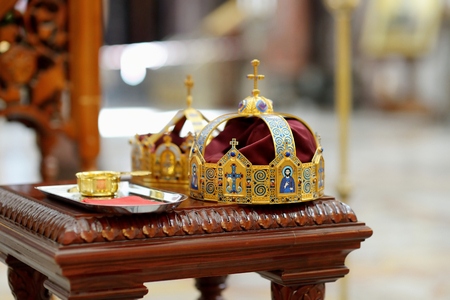 ceremonial: Two ceremonial crowns as orthodox wedding accessories