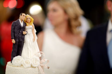 topper: Closeup of wedding cake topper figurines at reception