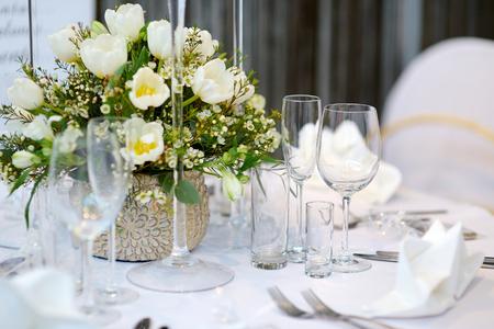 Tabelle Einstellung für eine Ereignisparty oder Hochzeitsfeier Standard-Bild