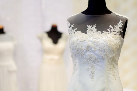traditional dress: Beautiful wedding dresses on a mannequins