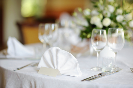 plate setting: Table set for an event party or wedding reception