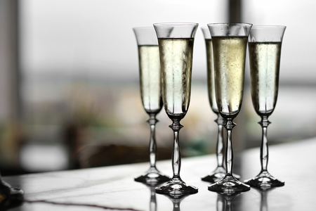 celebration champagne: Five fancy glasses of champagne