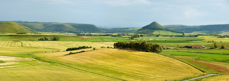 scenic landscape: Scenic landscape of a yellow and green meadow in Sardinia Stock Photo