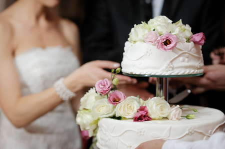 pastel de bodas: Una novia y un novio es cortar su pastel de bodas Foto de archivo