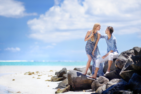 pepples: Young beautiful couple on a tropical island