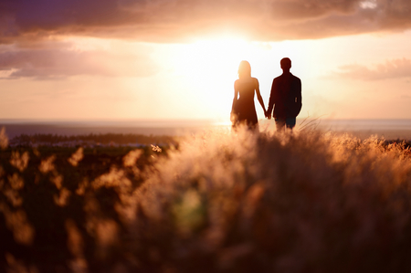 manos entrelazadas: Joven pareja disfrutando de la puesta de sol en la pradera