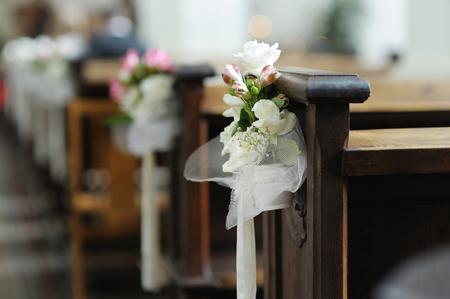 wedding flowers: Beautiful flower wedding decoration in a church