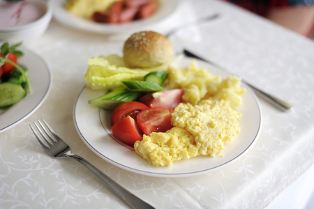 english breakfast: Traditional delicious breakfast with some fresh vegetables Stock Photo