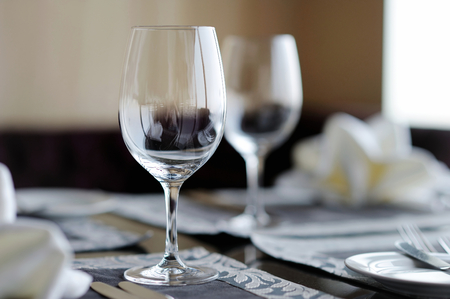 clean dishes: Two wine glasses on a table
