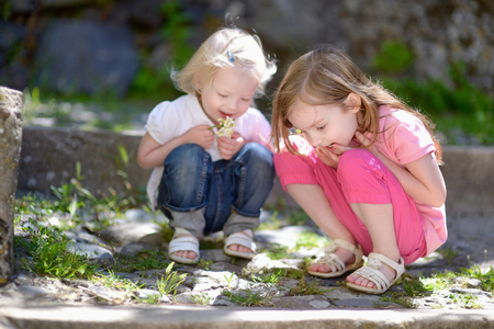 bond street: Two cute little sisters watching a bug outdoors