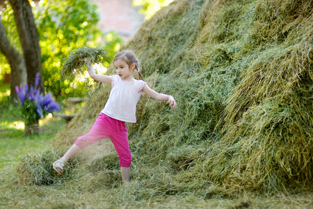 haymow: Adorable little girl playing in a haystack on beautiful summer day