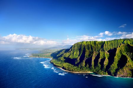 hike: Beautiful aerial view of spectacular Na Pali coast, Kauai, Hawaii