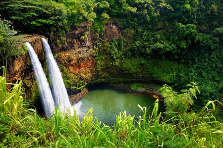 hawaii beach: Majestic twin Wailua waterfalls on Kauai, Hawaii Stock Photo