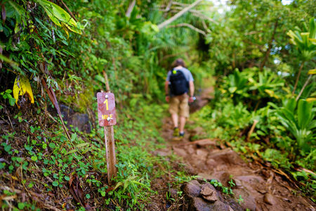 na: One mile sign on Kalalau trail in Kauai, Hawaii
