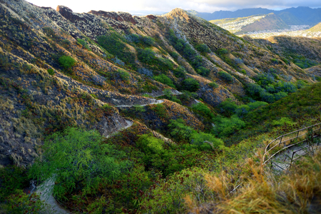 diamond head: A trail to Diamond Head crater viewpoint on Oahu, Hawaii