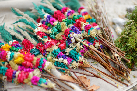 sunday market: Traditional lithuanian Easter decorative palm bouquets sold on spring market