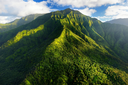 mountain valley: Stunning aerial view of spectacular jungles, Kauai, Hawaii