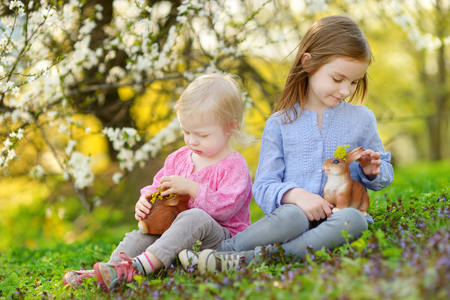 Two adorable little sisters playing with Easter bunnies in blooming spring garden on Easter day photo