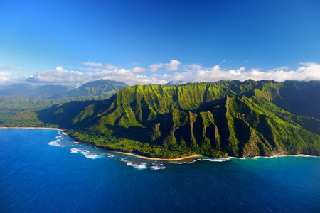 hawaii: Beautiful aerial view of spectacular Na Pali coast, Kauai, Hawaii