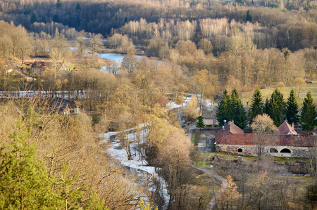 scarp: View of Vilnia river from geological Puckoriai exposure on early spring Stock Photo